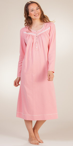 Cotton Aria Nightgown Long Sleeve Coral Knit Long Night Gown