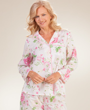 Flannel Lined Satin Pajamas - Miss Elaine Floral Brushed Back ...