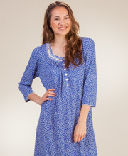 Aria Poly-Rayon Knit 3/4 Sleeve Long Nightgown in Wind Chime