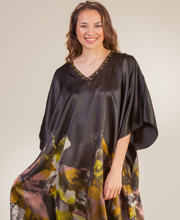 Caftans - Sante Long Satin Beaded Neckline Lounger in Midnight Mystic