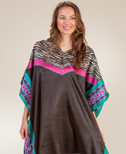 Short Caftans - Sante Satin Poly V-Neck Kaftan Tunic in Fancy Zebra