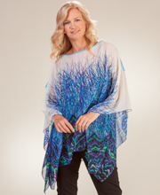 Cold Shoulder Tunic - Semi Sheer Misses Poncho Top in Bluegrass