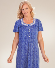 Aria Nightgowns - Short Sleeve Ballet Poly-Rayon Knit in Wind Chime