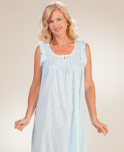 Miss Elaine Sleeveless Long Cotton Lawn Nightgown in Turquoise Paisley