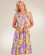 La Cera Rayon Sleeveless Pintucked Casual Dress in Violet Sunbeam