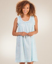 Short Miss Elaine Sleeveless Cotton Lawn Nightgown in Turquoise Paisley