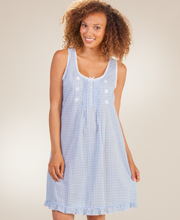 Miss Elaine Sleeveless 100% Cotton Lawn Waltz Gown in Blue Gingham