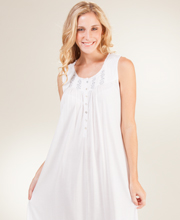 Eileen West Sleeveless Ballet Cotton Modal Nightgown in Silver Pearl