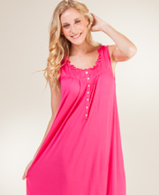 Eileen West 100% MicroModal Sleeveless Long Nightgown in Fabulous Fuchsia