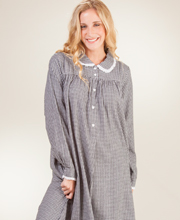 Lanz Flannel Nightgowns - Peter Pan Collar Long Nightgown in Checkerboard