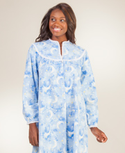 Long Flannel Lanz of Salzburg Nightgowns - V-Neck in Moonbeam Slumber