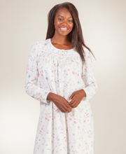 Aria Long Sleeve 100% Cotton Knit Nightgown in Gentle Meadow