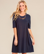 Dresses by Ellen Parker - Elbow Length Sleeve A-Line Dress in Navy