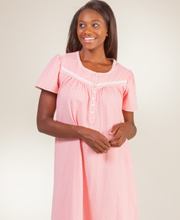 100% Cotton Nightgowns - Aria Short Sleeve Knit Gown in Coral Dot