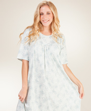 Calida Nightgowns - Cotton Short Sleeve Interlock Knit - Sage Bouquet
