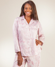 Pajamas by Miss Elaine - Brushed Back Satin in Berry Paisley