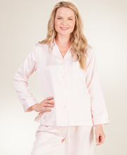 Pajamas by Miss Elaine - Brushed Back Satin PJs in Peach Stripe