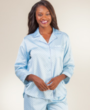 Brushed Back Satin Pajamas - Miss Elaine PJs in Sky Daisy
