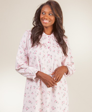 Kayanna Flannel Nightgown - Long Sleeve Cotton Gown in Pink Floral