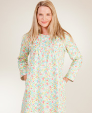 Flannel Nightgown - Pintucked Cotton Gown By La Cera - Lavish Aqua