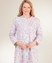 La Cera Flannel Nightgown - Pintucked Cotton Gown in Lavish Pink