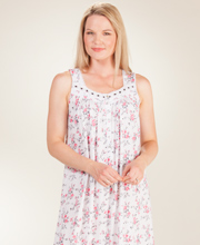 Eileen West Cotton/Modal Knit Gowns - Sleeveless Long in Rose Medley
