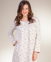 Long Nightgowns - Aria Light Cotton Flannel Long Sleeve Nightgown - Cardinal Song