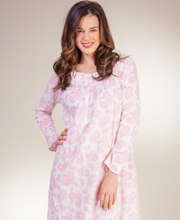 Cotton Nightgowns by Aria - Long Sleeve Knit Ballet Gown - Paisley Rose