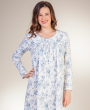 Aria Nightgowns - Long Sleeve 100% Cotton Gown in Charming Bouquet