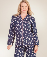 Kayanna Flannel Pajamas - Long Sleeve Cotton PJs in Navy Floral