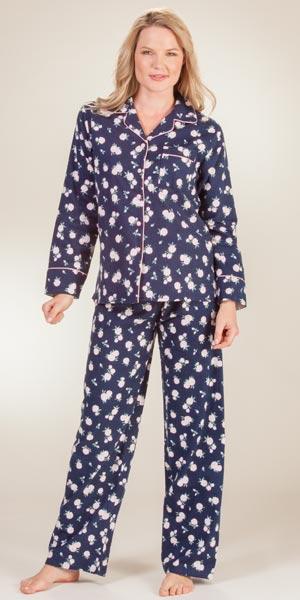 Flannel Sleepwear - KayAnna Long Sleeve Floral Pajamas in Navy