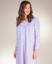 Aria Fleece Nightgowns - Long Sleeve Ballet Gown in Lilac Geo