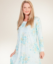 Plus Cotton-Rich Miss Elaine Knit Long Sleeve Nightgown in Blue Floral
