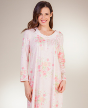 Plus Miss Elaine Long Nightgown - Cotton-Rich Knit Gown - Peach Floral