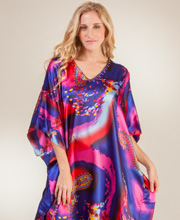 Sante Satin Charmeuse Caftan - One Size Kaftan In Painted Wind