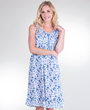 Sleeveless Plus La Cera Mid-length Nightgown in Woven Cotton - Blue Drama
