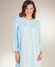 Miss Elaine Plus Nightgowns - Smocked Cuddleknit Ballet Gown - Turquoise
