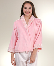 Pink Cozy Fleece Bed Jackets - Kayanna Swirl Shawl Collar In Pink