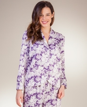 Brushed Back Satin Pajamas By Carole Hochman in Violet Goddess