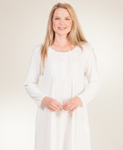 La Cera Poly/Rayon Blend Long Sleeve Ballet Nightgown - Ivory Bloom