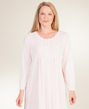 Plus La Cera Poly/Rayon Knit Long Sleeve Ballet Nightgown - Pink Bloom
