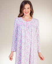 Aria Long Sleeve 100% Cotton Knit Long Nightgowns in Charming Ditsy