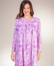 Cotton Nightgowns by Aria - Long Sleeve Long Knit Gown - Charming Paisley