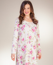 Cotton Knit Nightgowns - Carole Hochman Long Sleeve Gown in Wild Rose