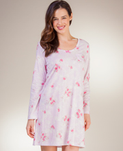 Carole Hochman Cotton Knit Long Sleeve Nightshirt in Shadow Roses