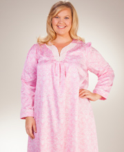 Plus Carole Hochman Nightgowns - Brushed Back Satin V-Neck in Rose Manor