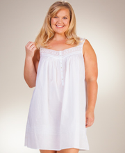 Plus Eileen West Cotton Lawn Waltz Sleeveless Nightgown - Lace Appeal