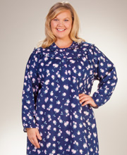 Plus Kayanna Flannel Nightgown - Long Sleeve Cotton Gown in Navy Floral