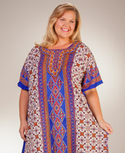Plus Caftans by Sante - One Size Long Poly Kaftan in Western Blooms