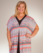 Plus Rayon Caftans - Ellen Tracy Short Sleeve V-Neck Caftan in Bungalow